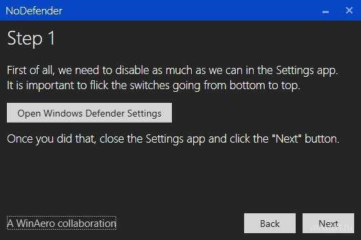 Open Windows Defender Settings