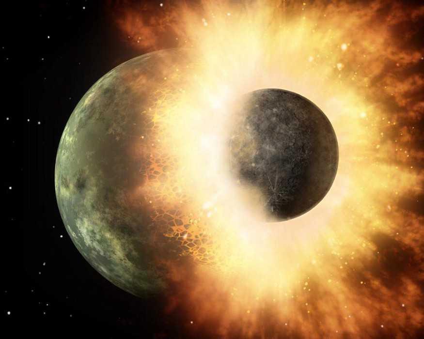 Как образовалась Луна: столкновение с планетой