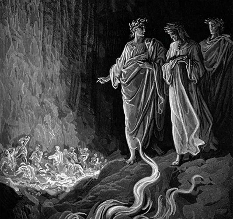 Сожжение грешников по Данте