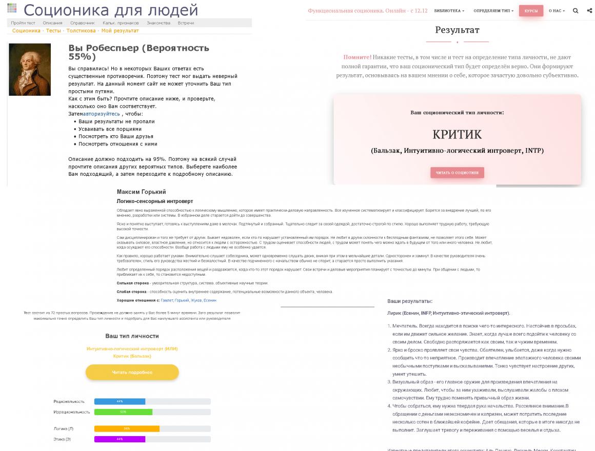 Тест соционика: infp, enfp, intj