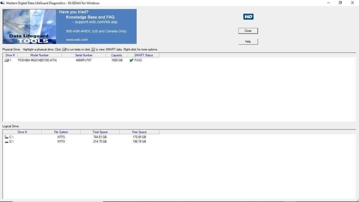 Интерфейс программы Western Digital Data LifeGuard Diagnostics Tool
