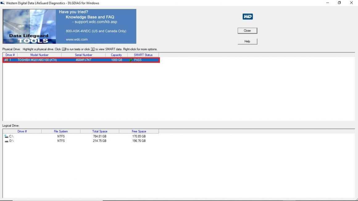 Western Digital Data LifeGuard Diagnostics Tool: установка программы